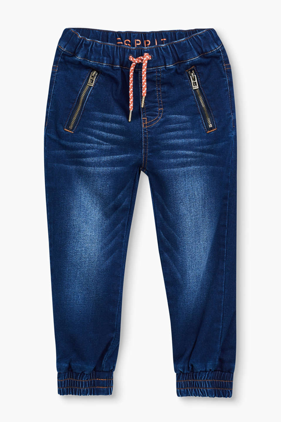 Jeans in a tracksuit bottoms style! A colourful cord tie and zip pockets make these soft, comfy jeans eye-catching.