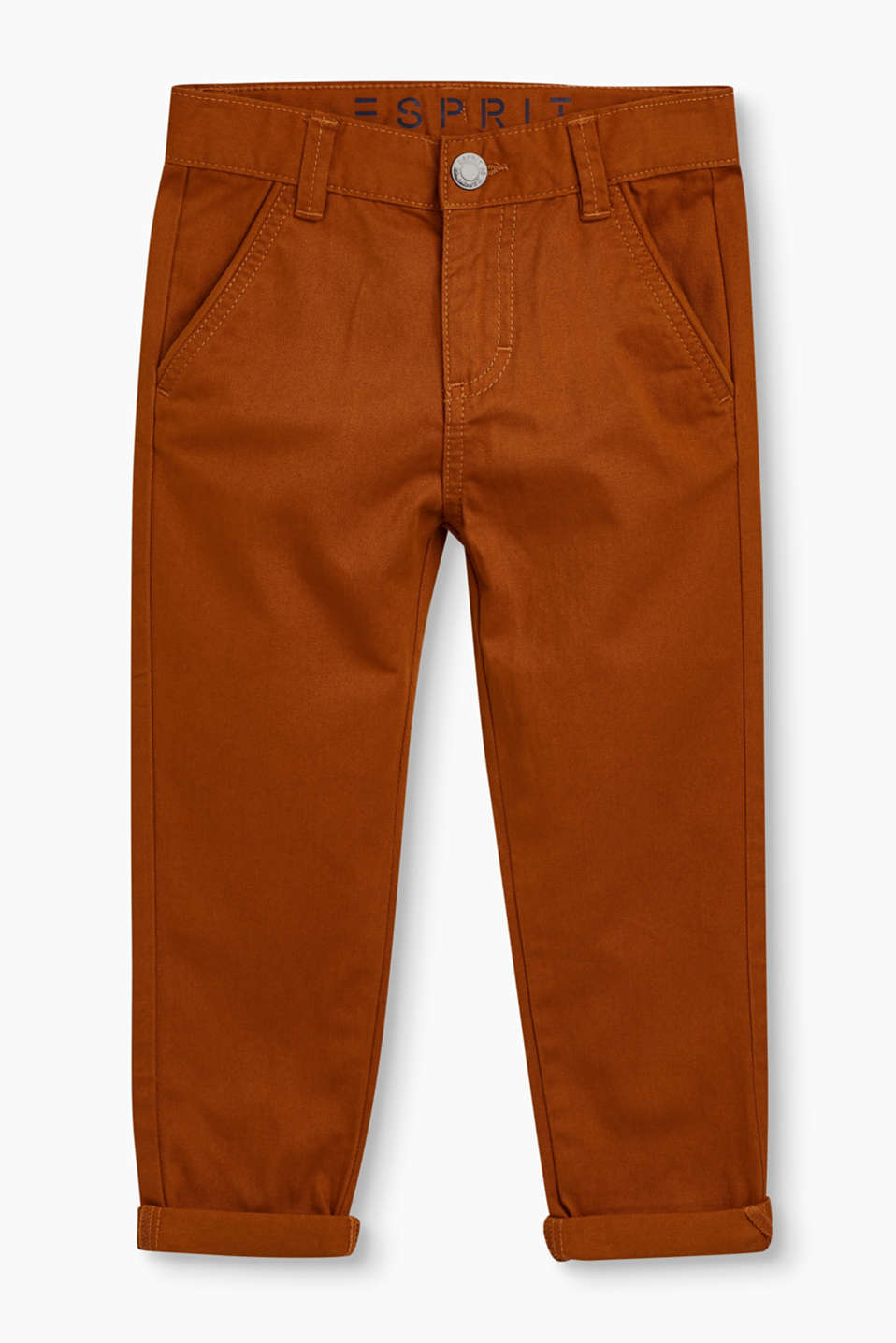 Esprit - Chinos with adjustable waist, 100% cotton