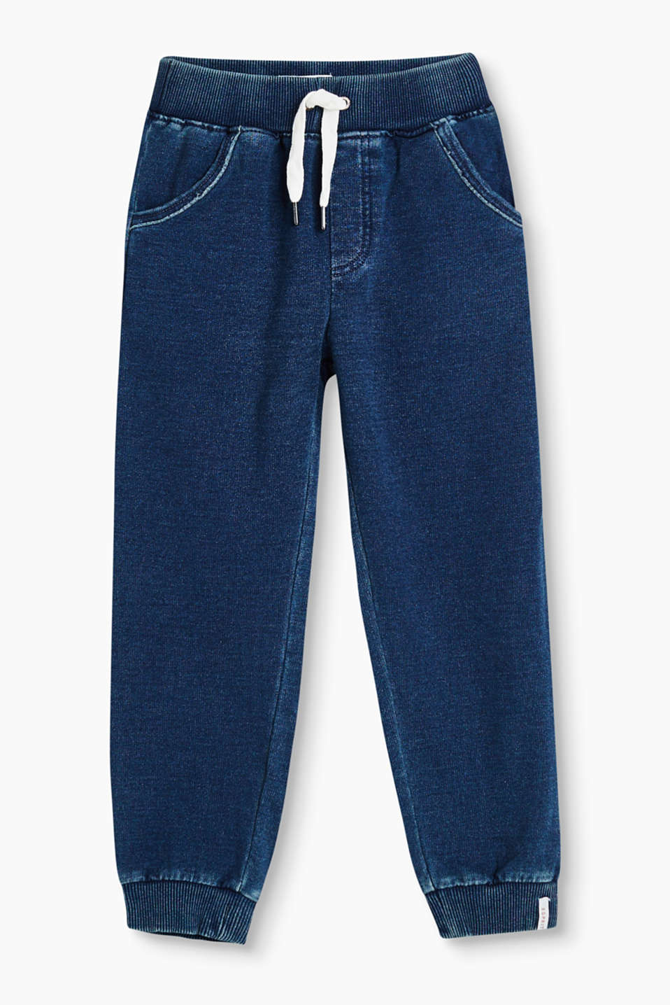 Denim-effect sweatshirt tracksuit bottoms with ribbed borders and a washed finish