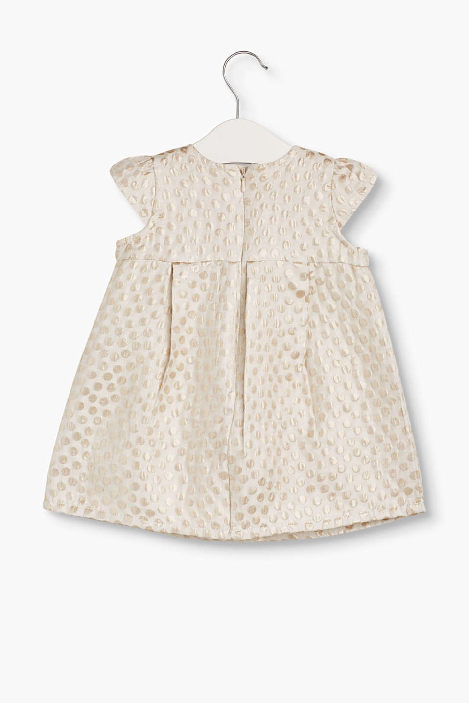 Dress with a shimmering polka dot jacquard