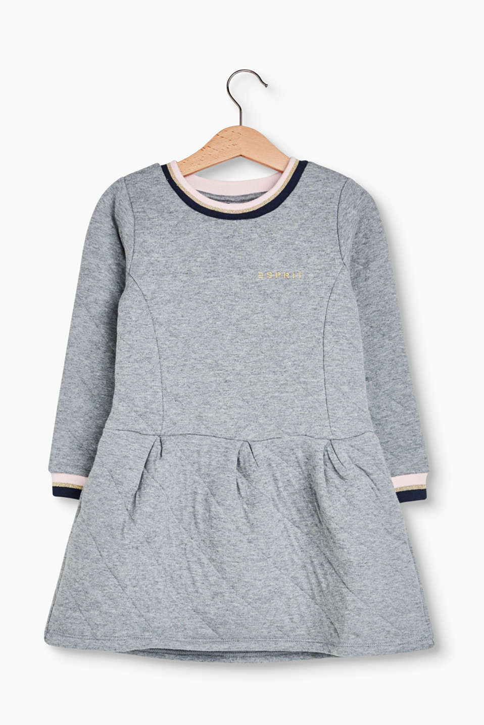 Sweatshirt dress with topstitching, striped ribbed cuffs and skirt with inverted pleats, made of soft blended cotton