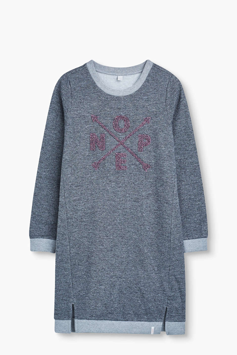 Esprit - Melange sweatshirt dress with embroidery