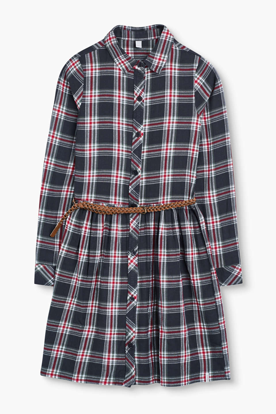 This fashionable swirling flared check dress made of soft cotton fabric is pretty and casual at the same time.