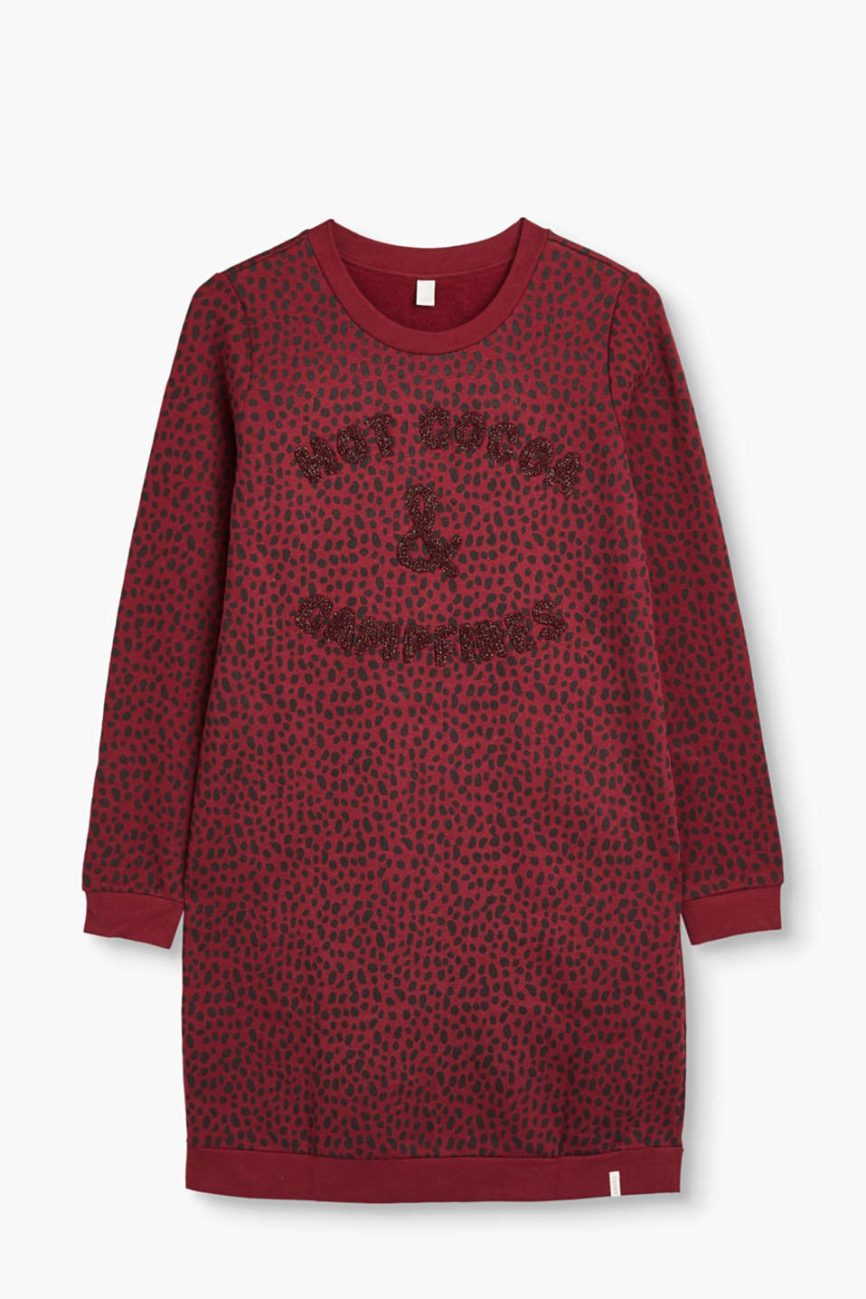 Esprit - Embroidered sweatshirt dress, 100% cotton