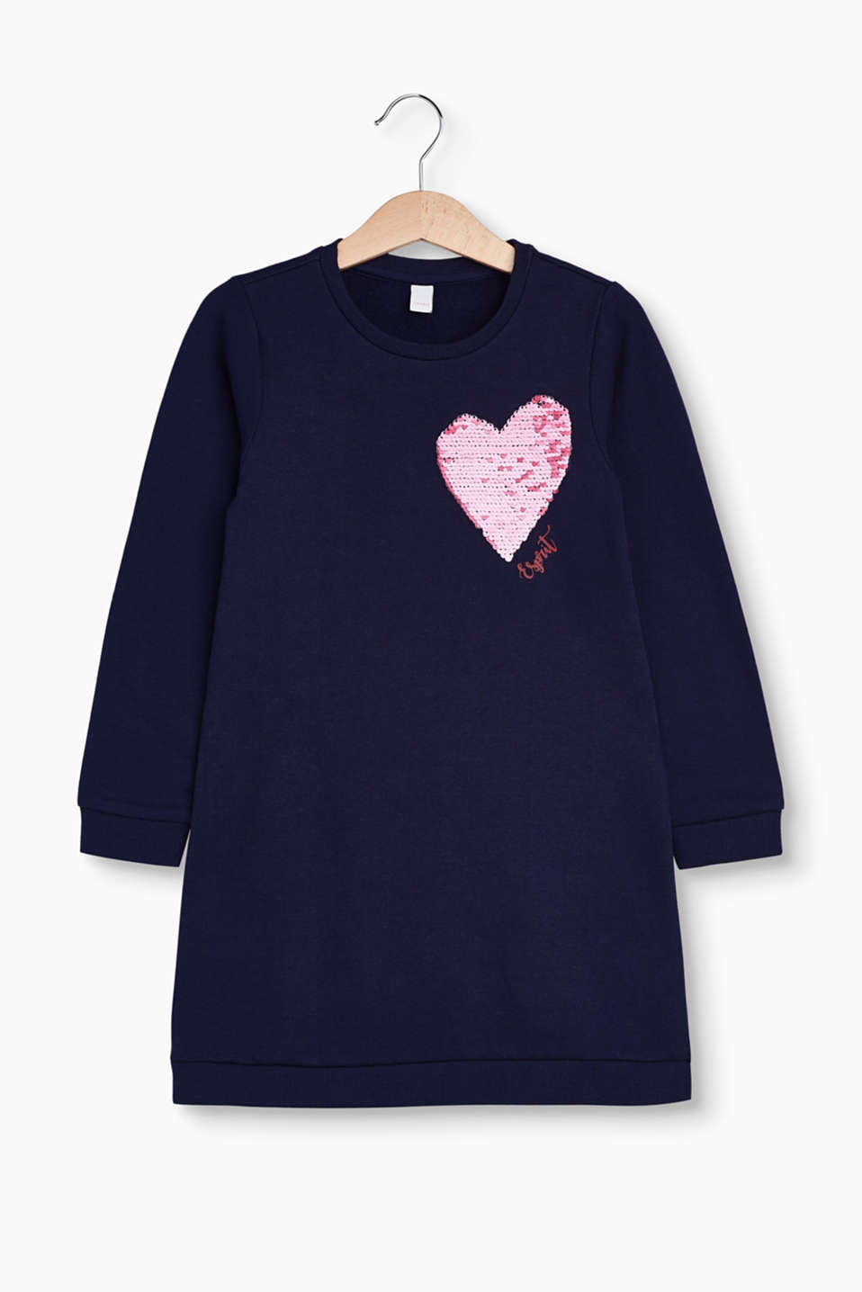A comfortable favourite! Sweatshirt dress made of pure cotton with a heart in dazzling reversible sequins.