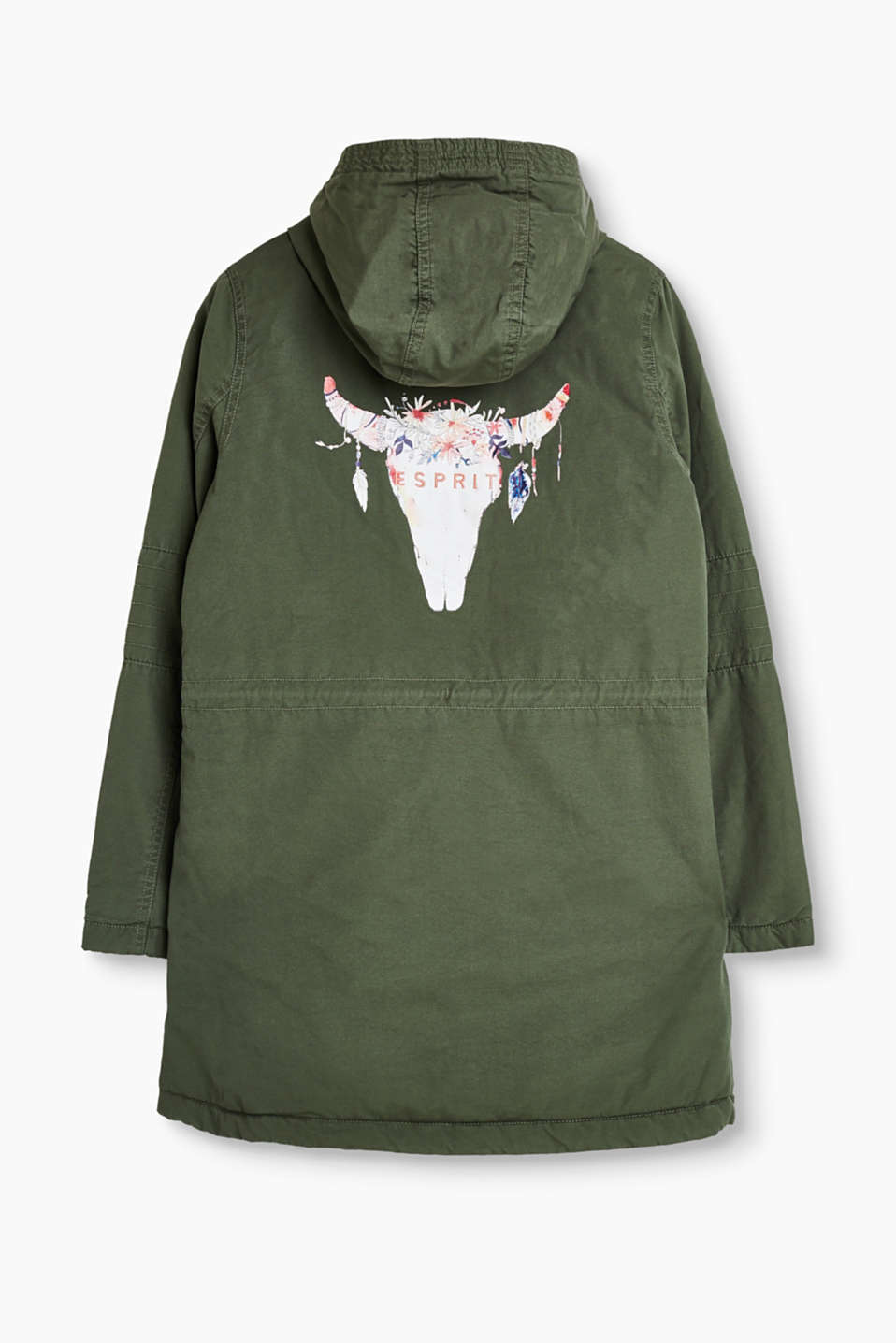 Padded cotton parka with a digital print