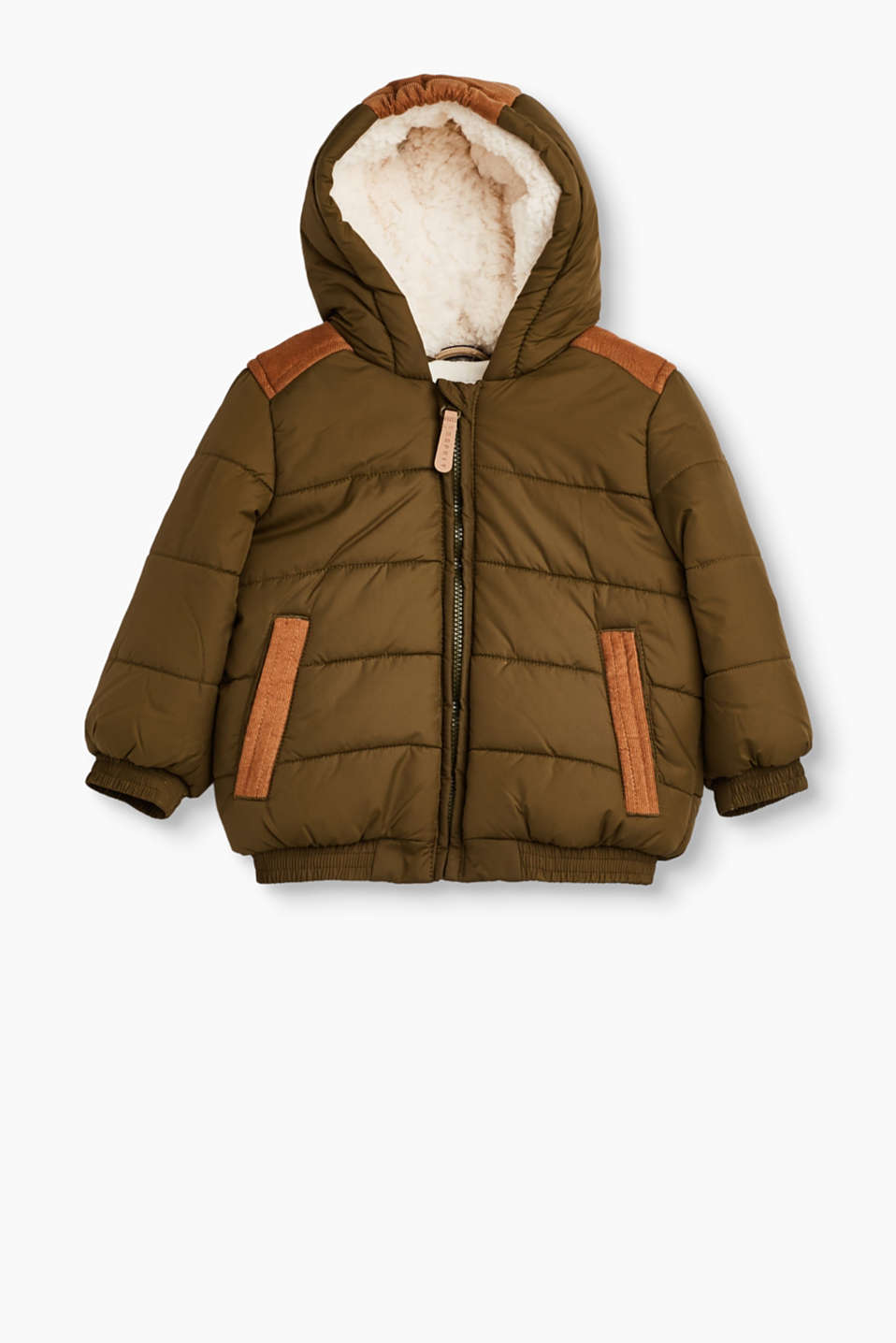 Esprit - Quilted jacket with cord and fleece lining