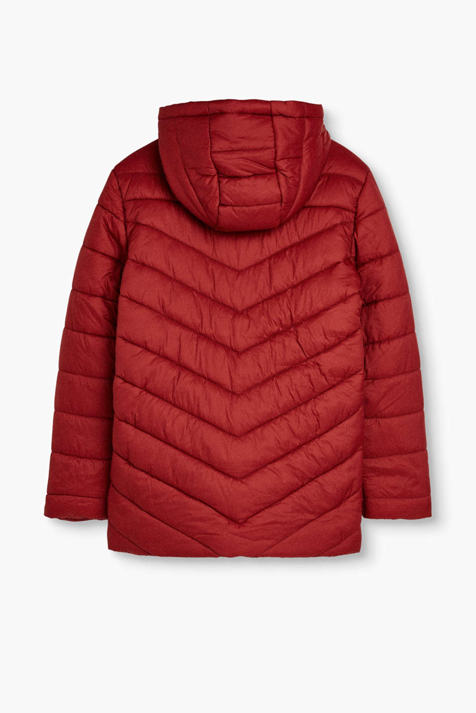 Quilted jacket with hood and fleece lining