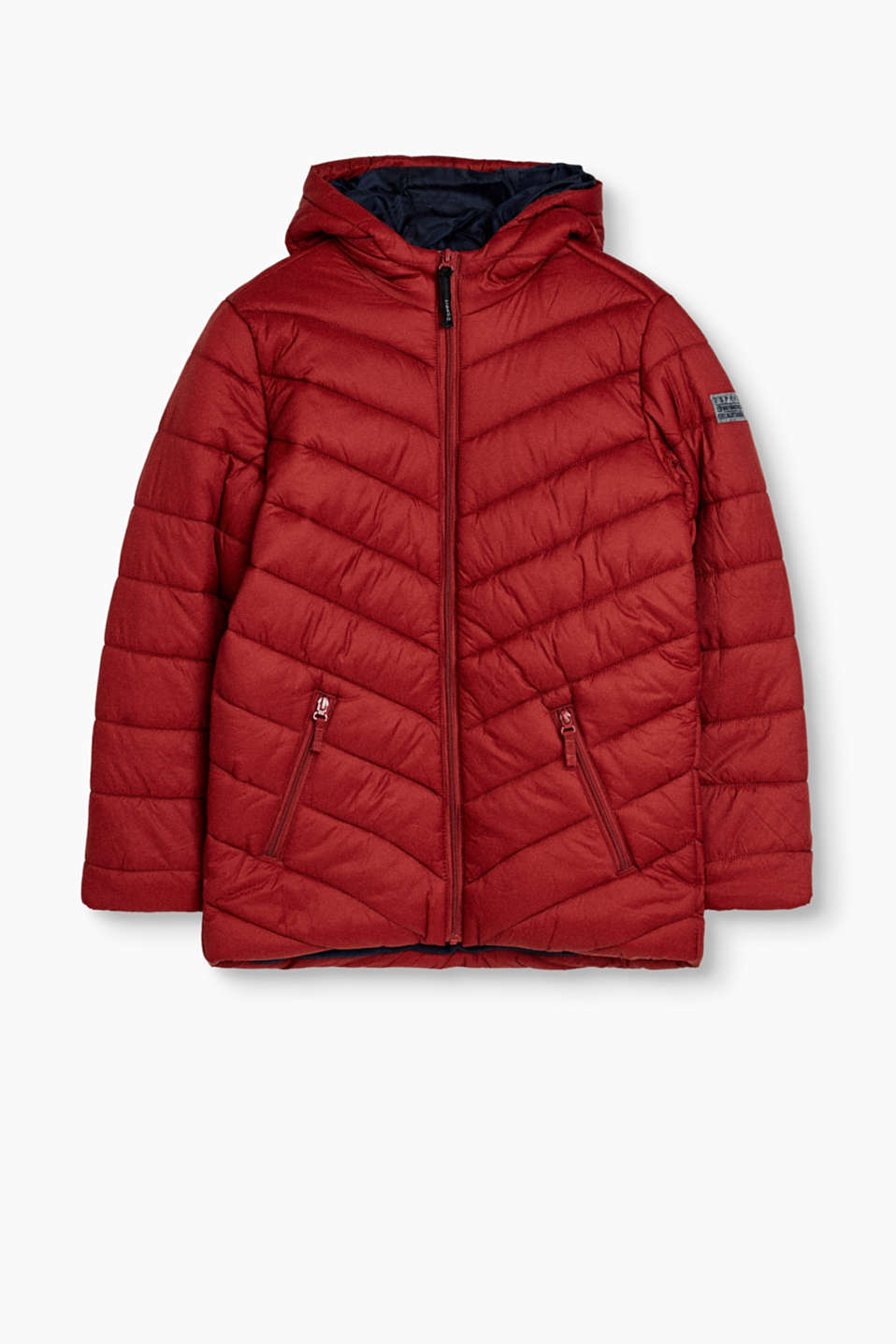Esprit - Quilted jacket with hood and fleece lining