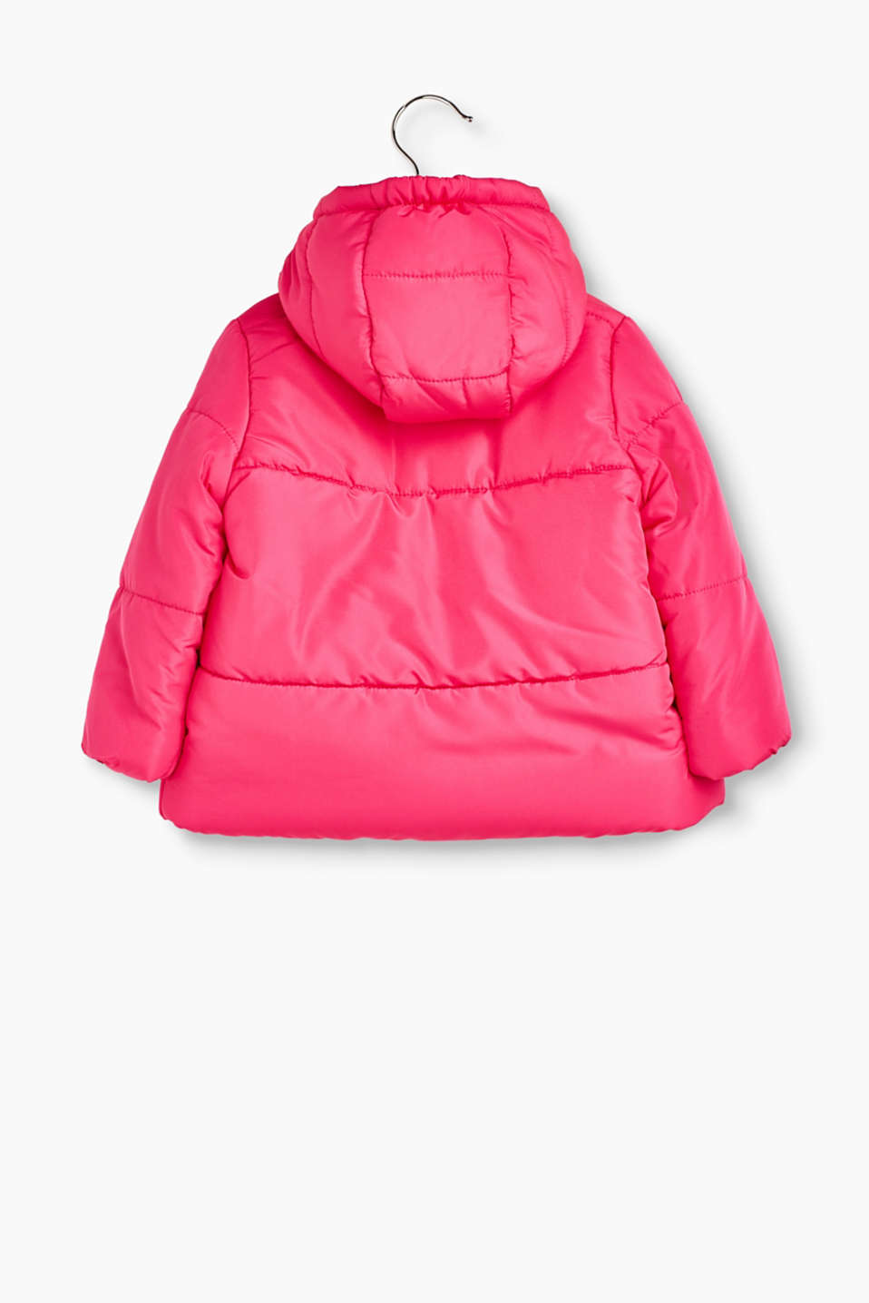 Quilted jacket with a hood and fleece lining