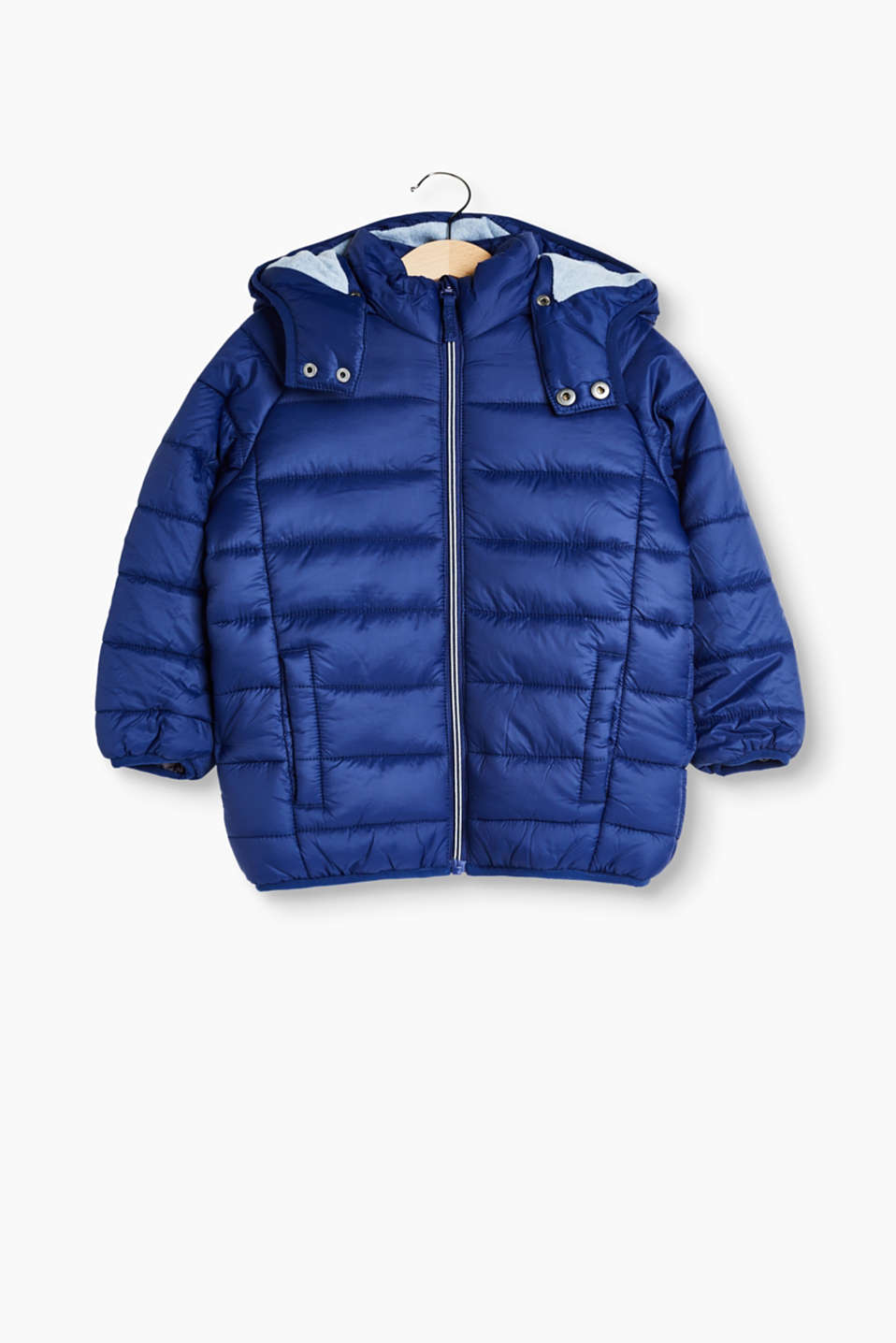 Esprit - Quilted jacket with button-off hood
