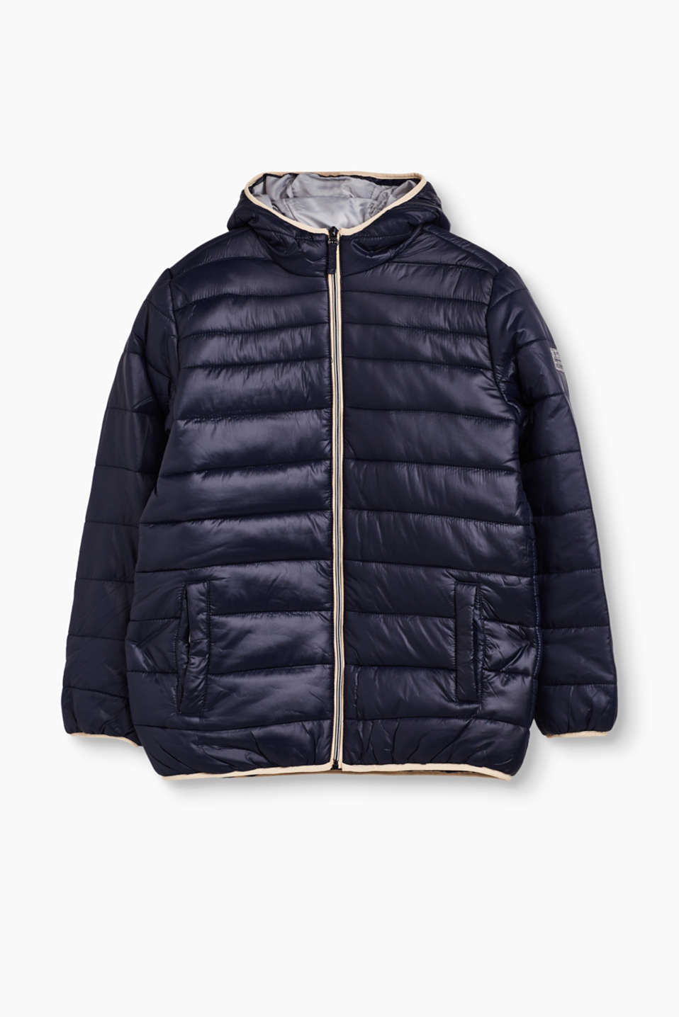 Esprit - Quilted jacket with a hood and fleece lining