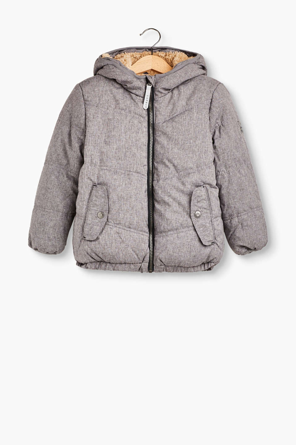 Boys will stay all cuddled up in this padded, quilted jacket with a hood and cosy teddy lining.