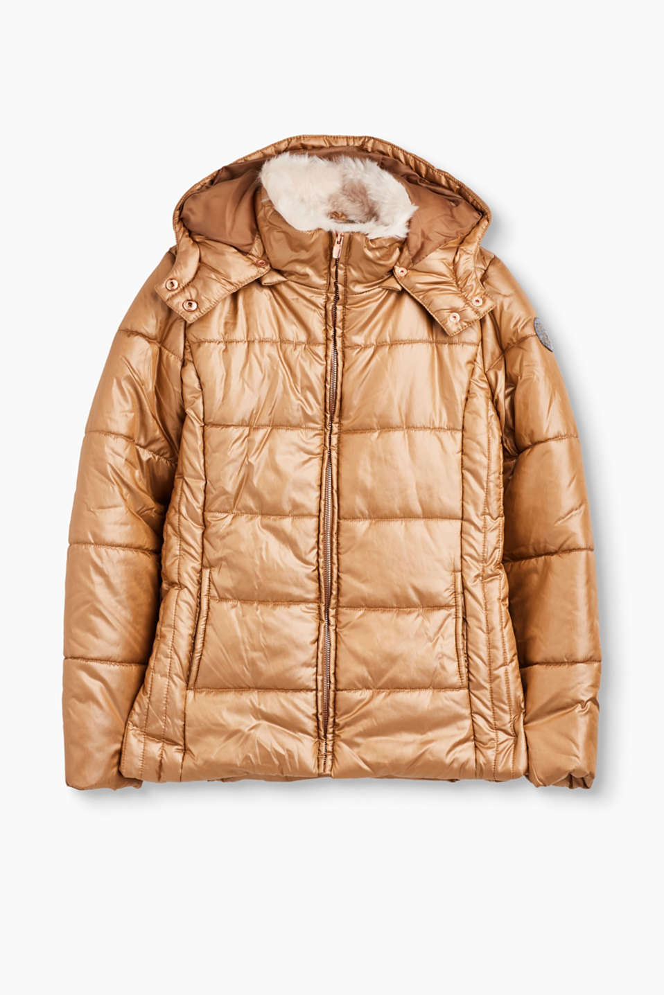 So chic and also super practical: padded quilted jacket with a detachable hood and a collar lined with faux fur