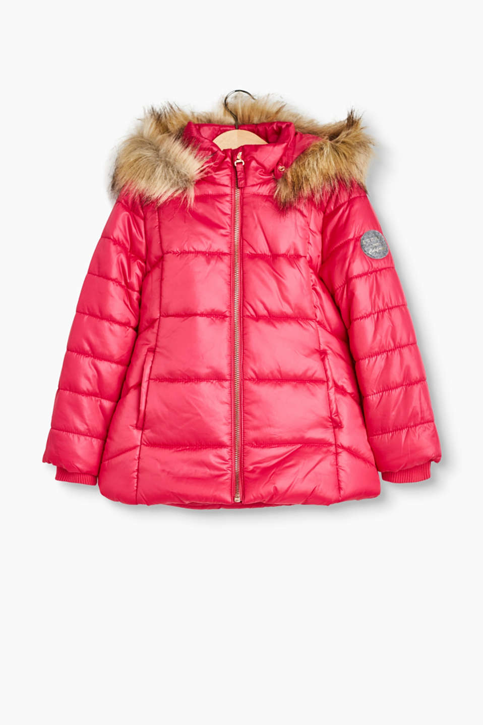 Warm padded quilted jacket with a button-off hood and woven fur trim