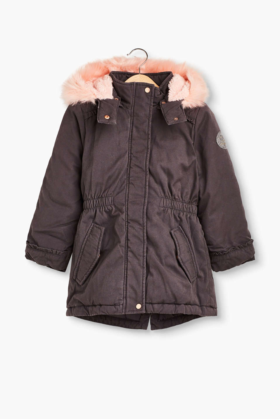 For girls only! Padded, cotton parka with pink faux fur lining and a detachable hood.