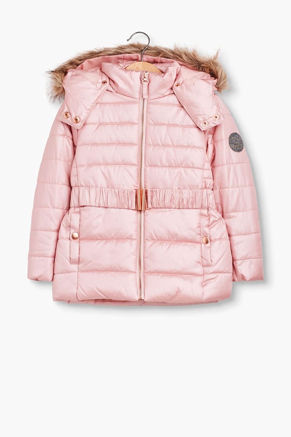 So chic and also super practical: warm, padded quilted jacket with a detachable faux fur hood and fleece lining