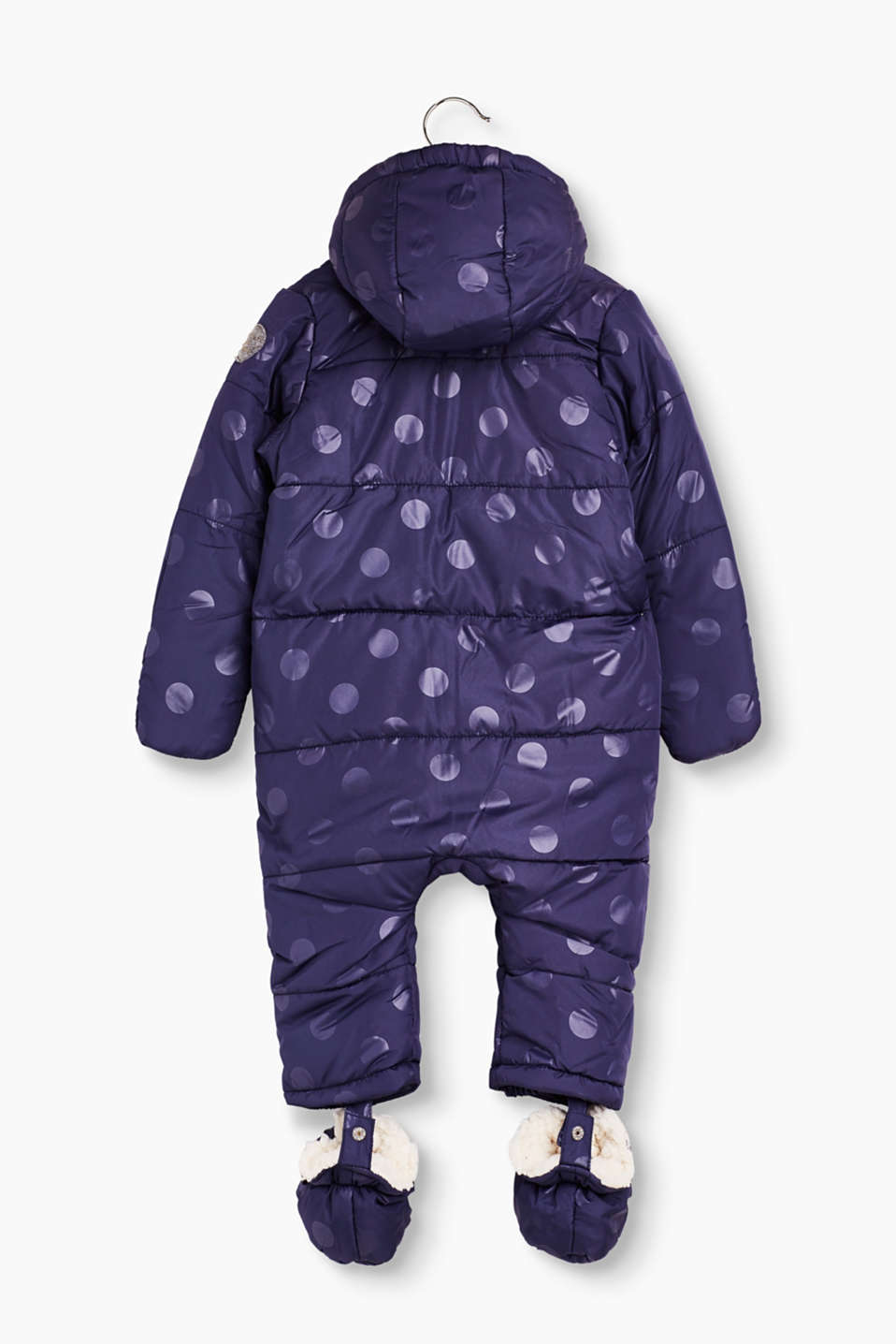 Padded snow suit with polka dot print