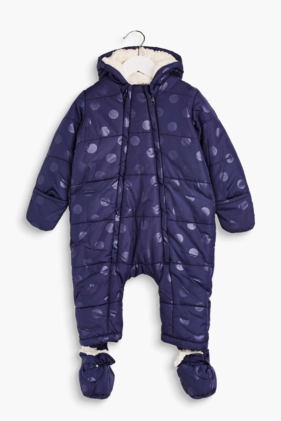 This cosy and warm snow suit with adjustable socks and shimmering polka dots is perfect for winter.