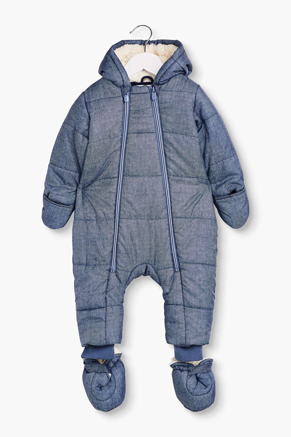 Safe through the winter: cosy winter snow suit in a denim look with adjustable booties and mittens