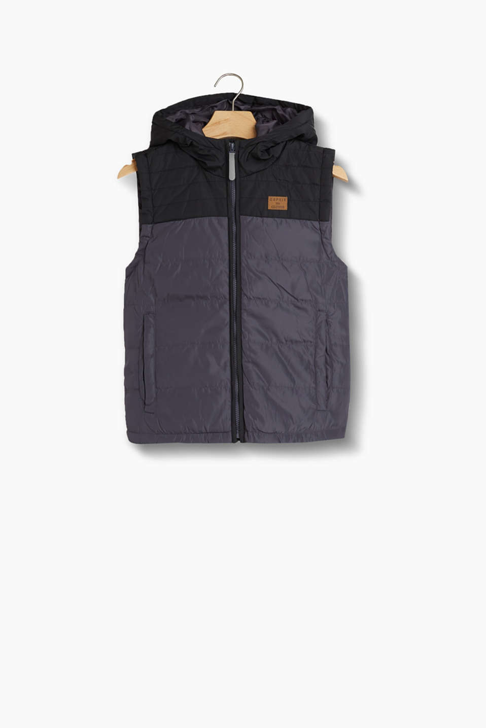 Esprit - Two-tone quilted body warmer + hood