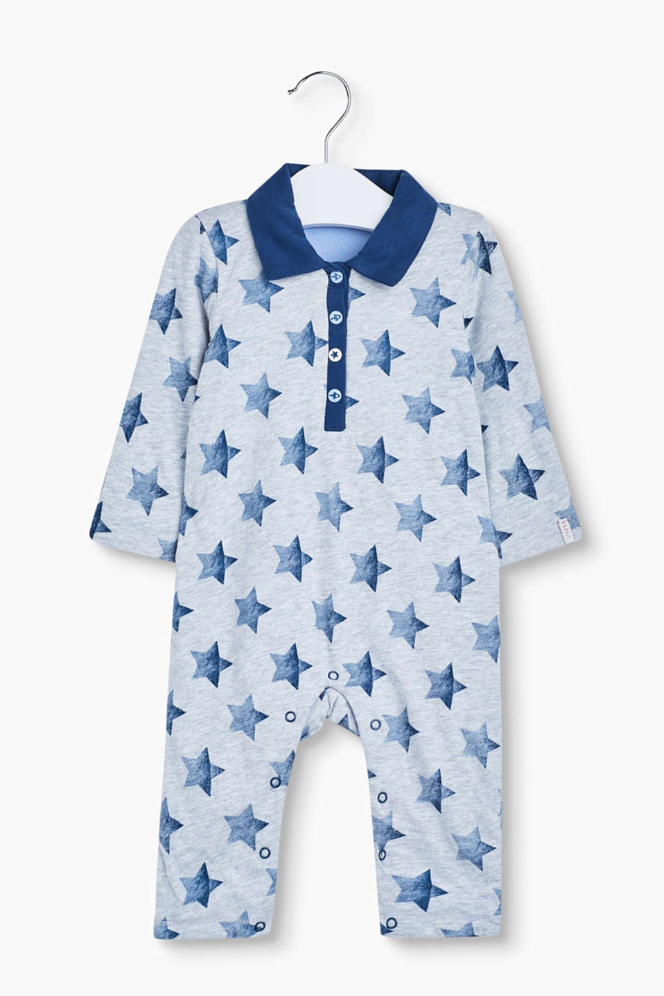 With a polo collar and a star print: this romper suit in soft, double layered jersey