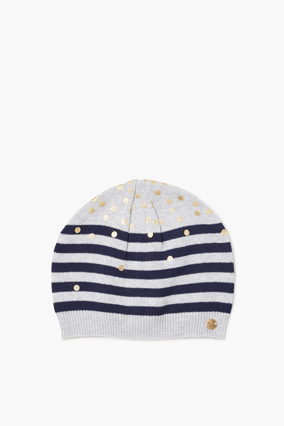 The combination of stripes and dots makes this knit beanie look so pretty!