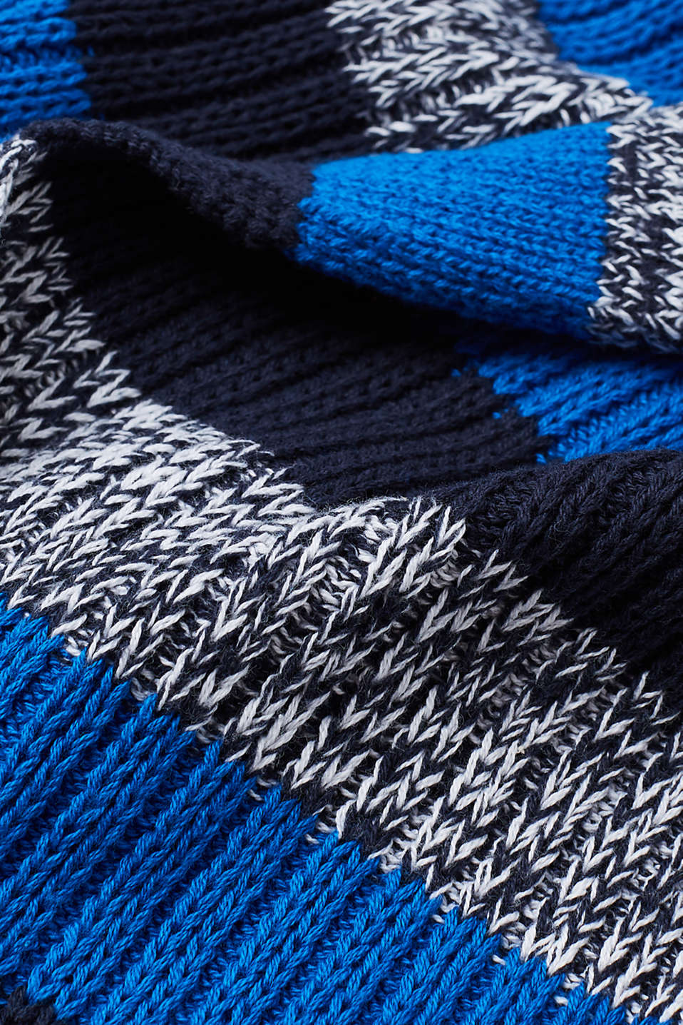 Striped knit scarf, 100% cotton