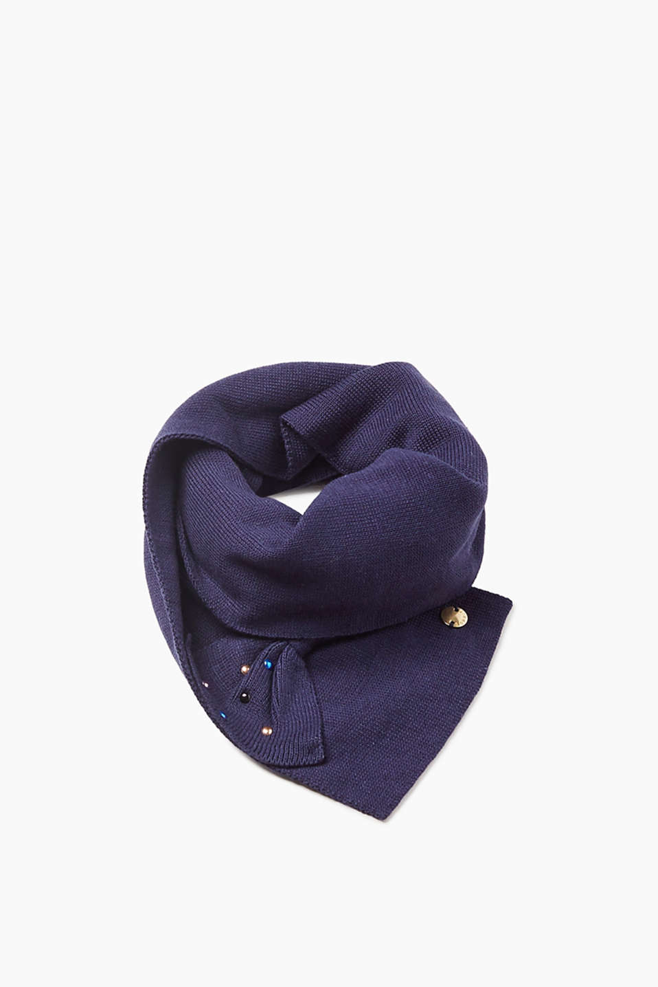 Esprit - Knit scarf with a decorative bow + studs