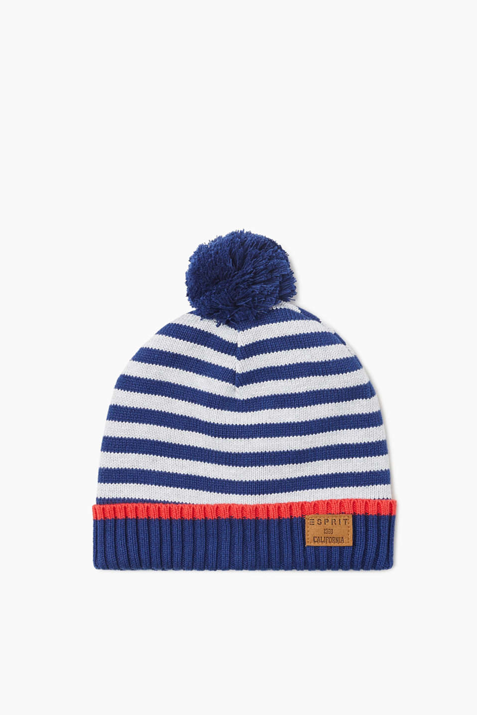 Protects against the cold with an exciting look: striped pompom hat in cotton with soft fleece lining.