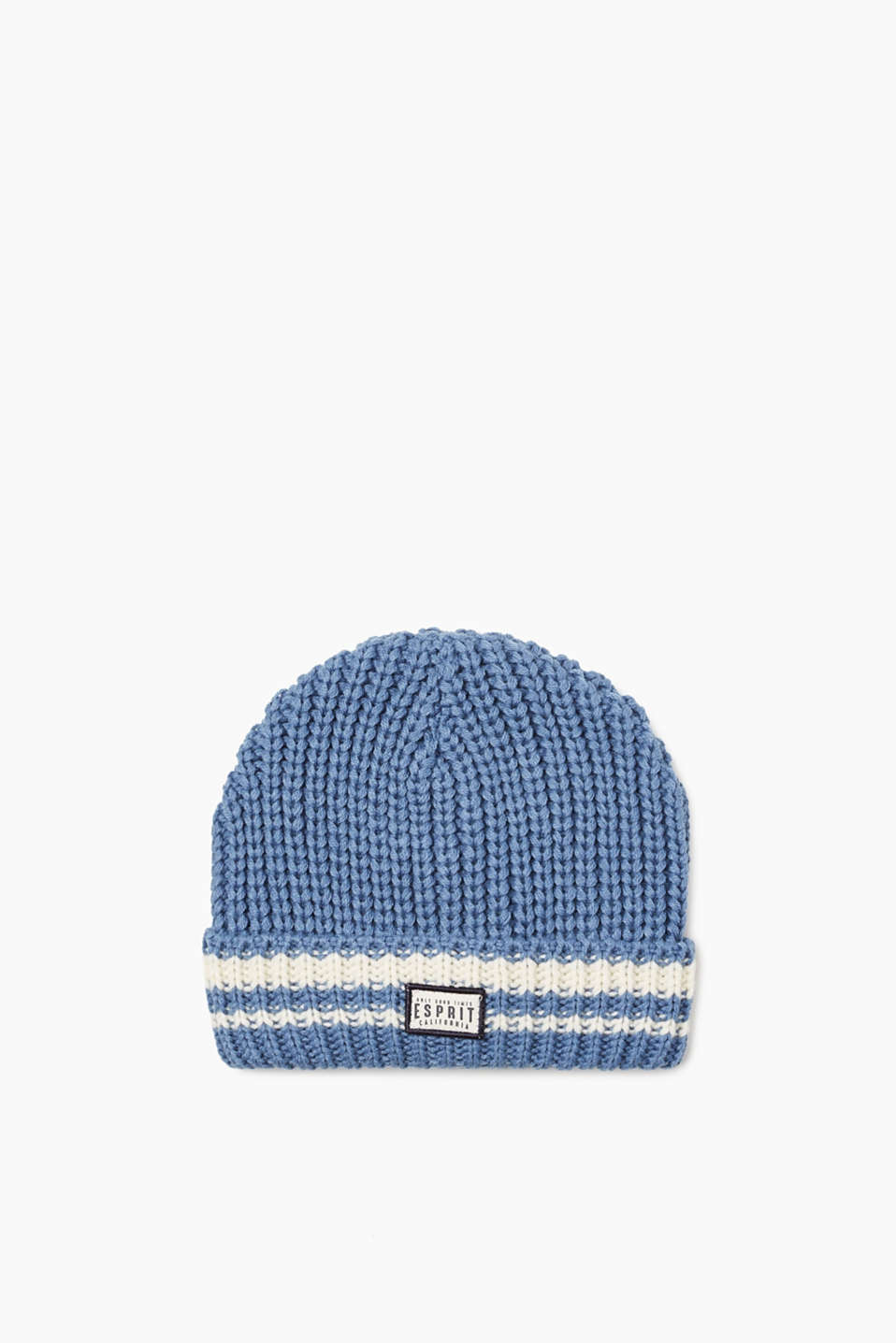 Esprit - Chunky knit hat with a striped cuff