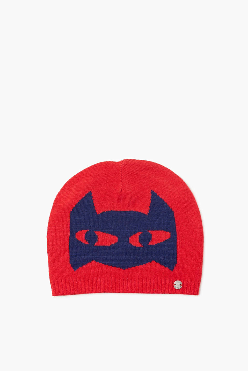 Just the piece for little superheroes: beanie in a warm knit with a cool intarsia mask.