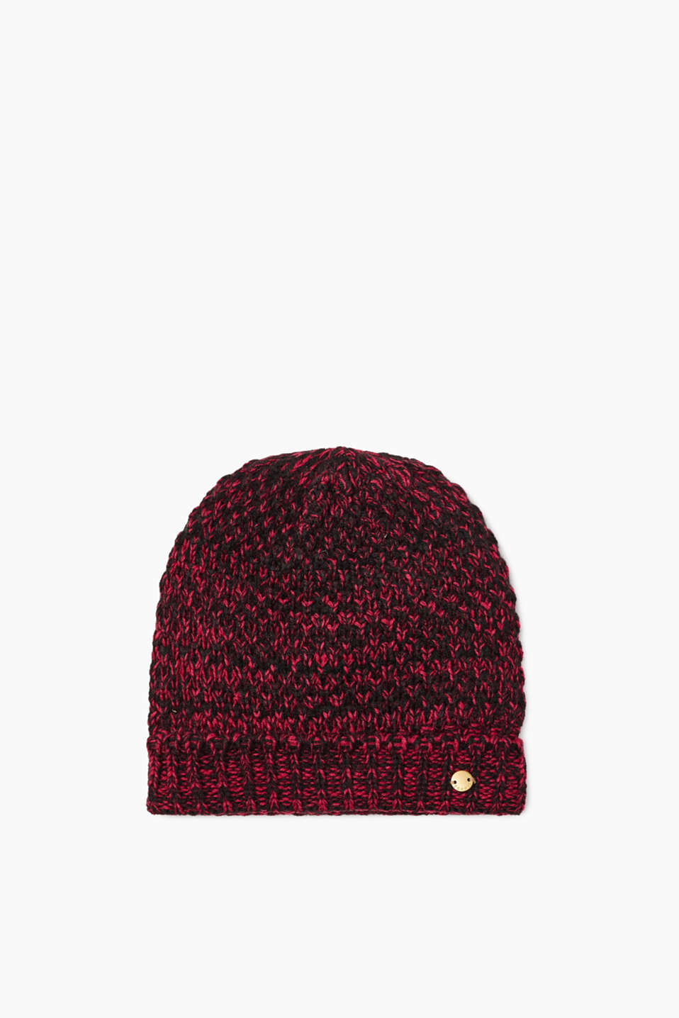 Versatile winter accessory! This knitted hat with an adjustable ribbed cuff and lining is extremely eye-catching.