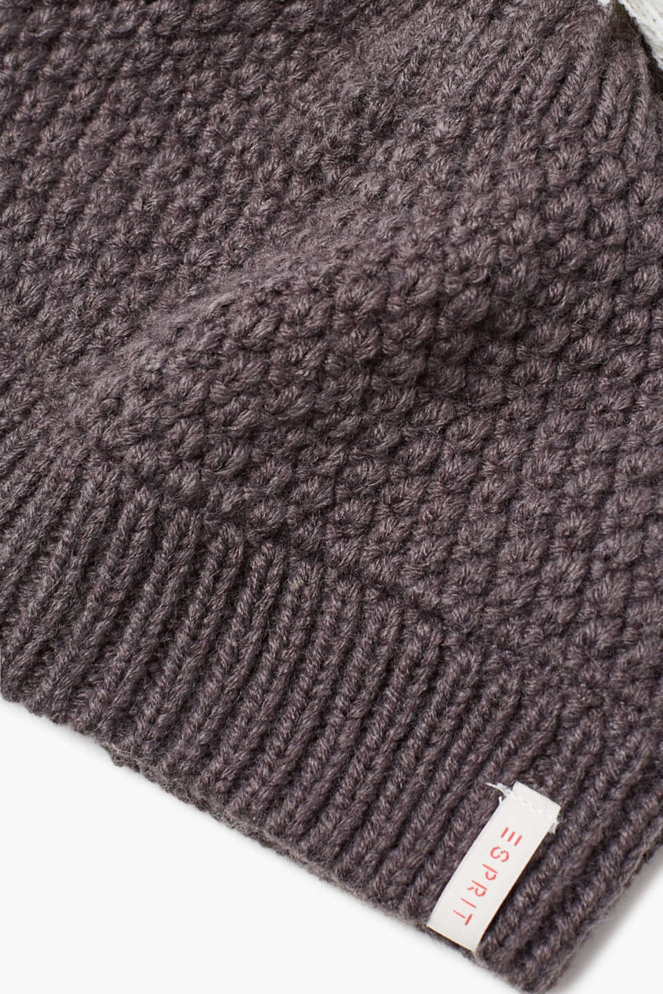 Knit bobble hat with fleece lining