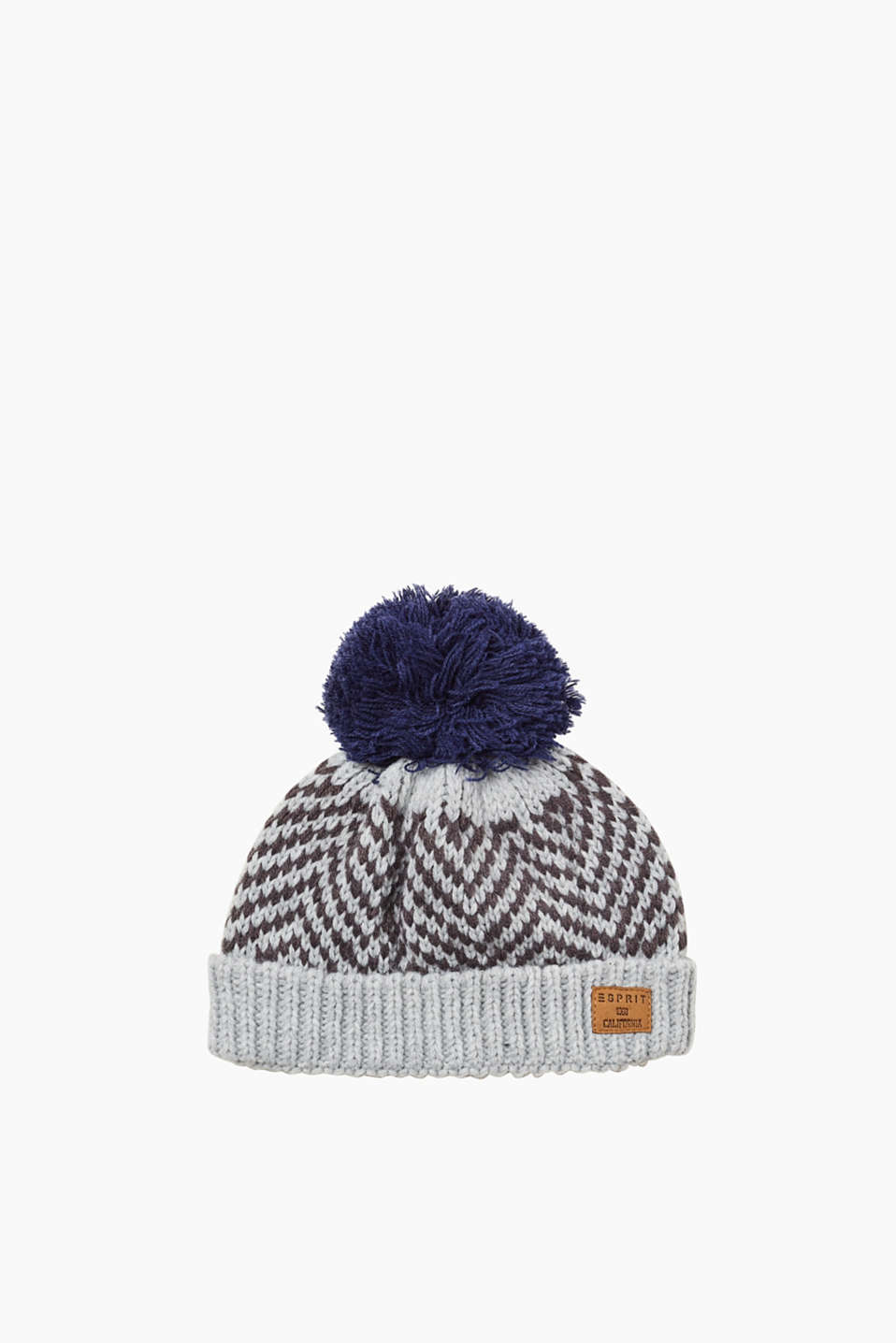 Esprit - Knitted hat with a pompom and fleece lining