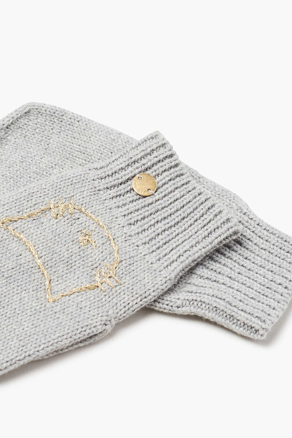 Embroidered mittens, 100% cotton