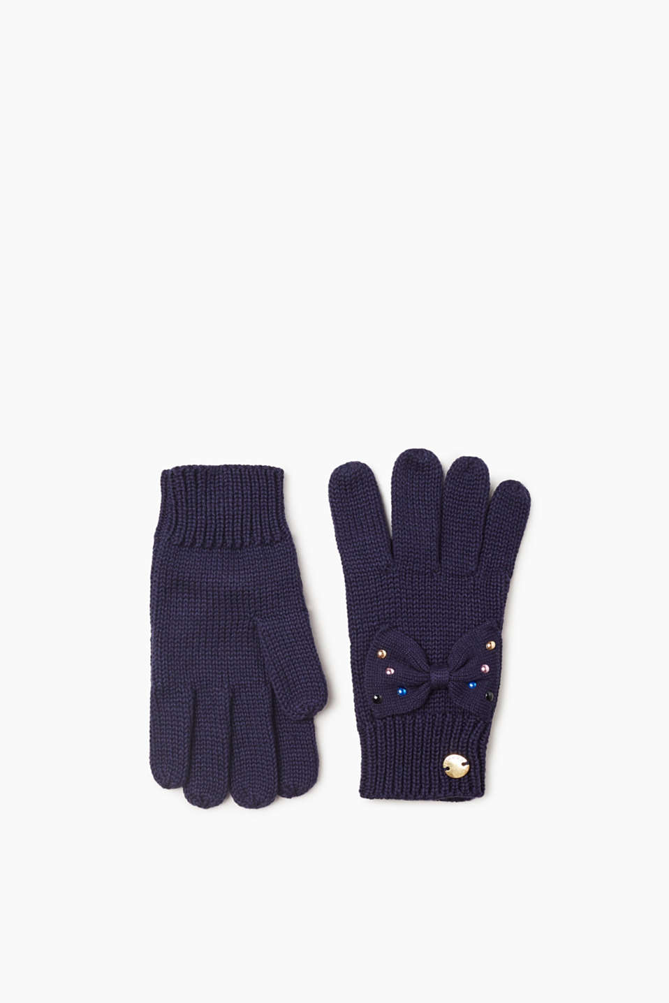 Esprit - Knitted gloves with a bow detail