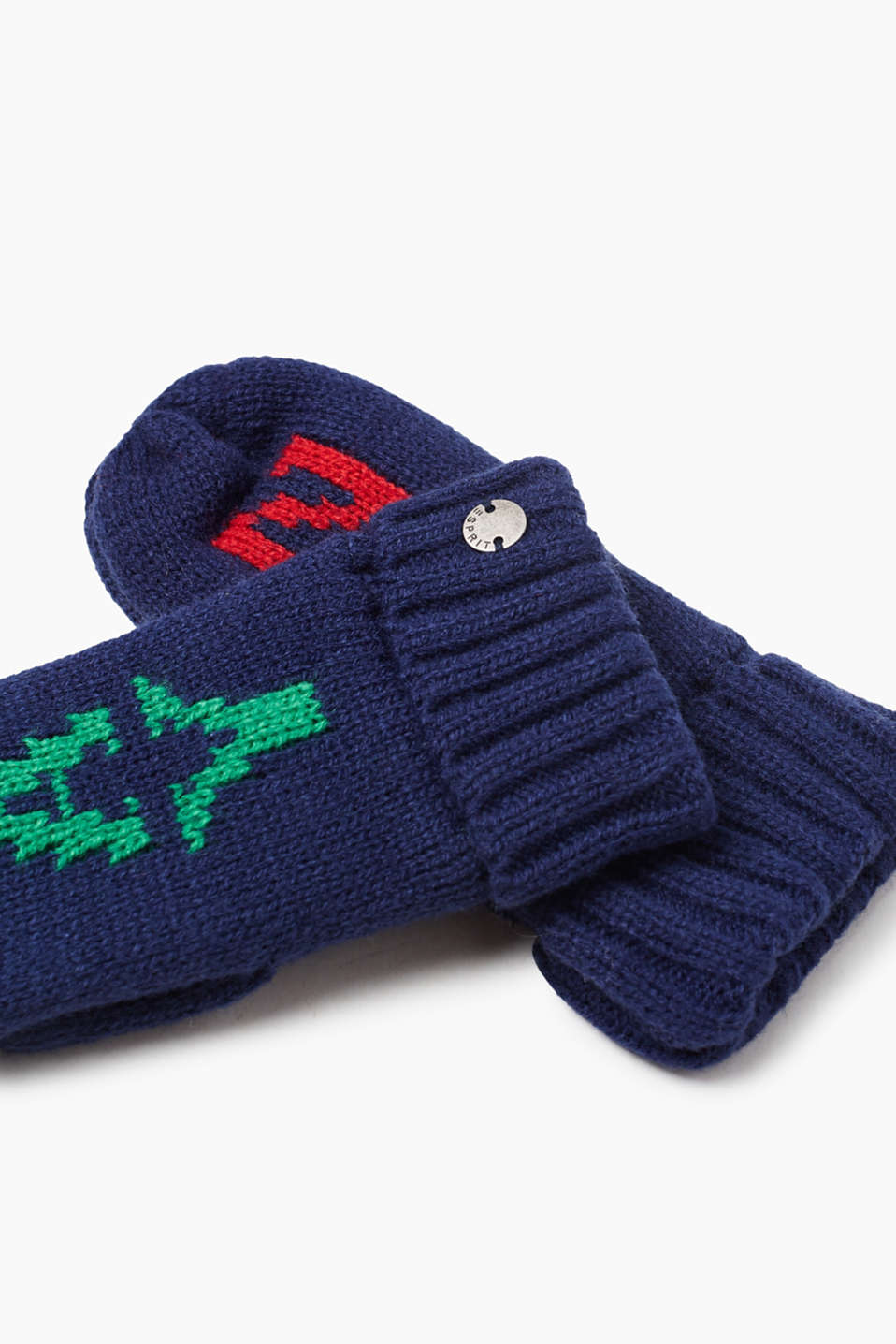 Knit mittens with jersey lining