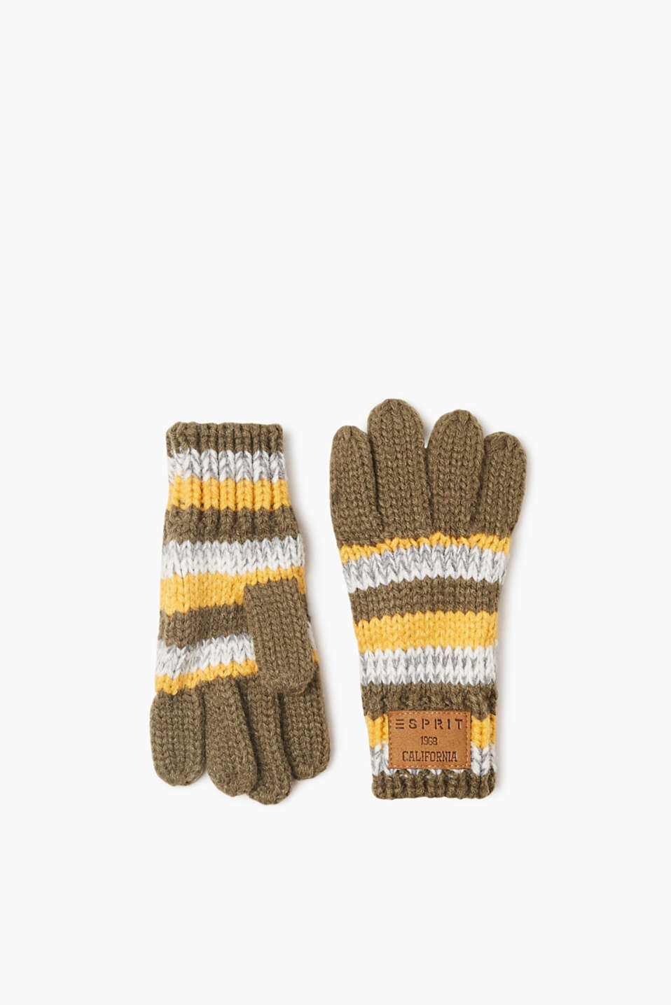 Esprit - Striped, knitted gloves