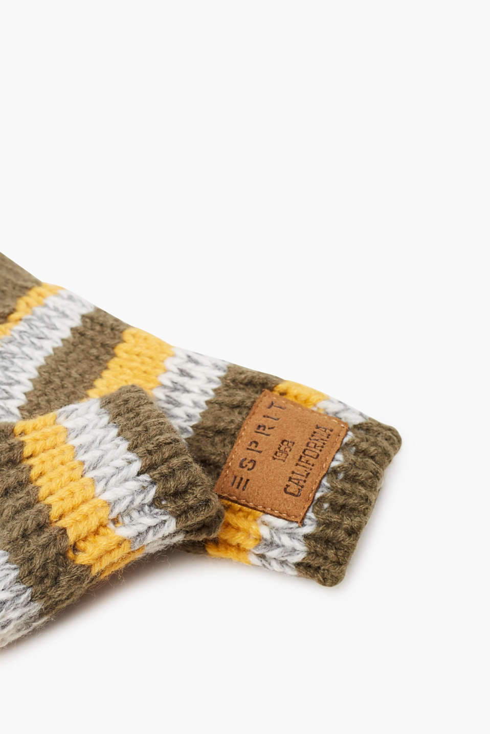 Striped, knitted gloves