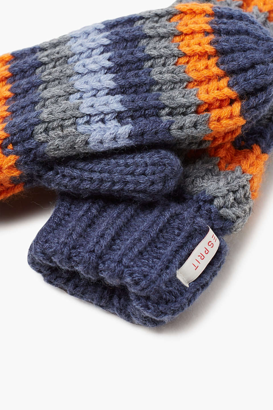 Striped mittens with fleece lining
