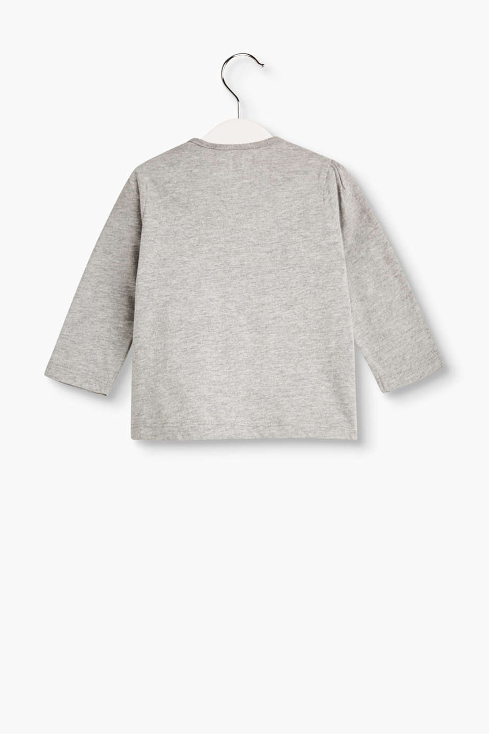 Melange long sleeve with printed motifs