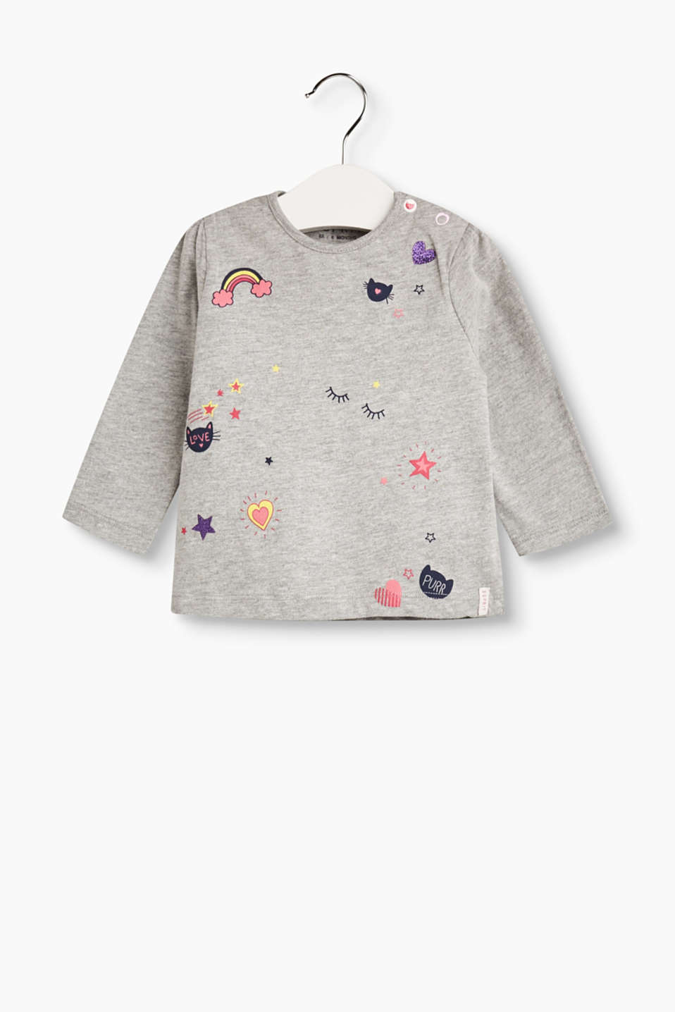 Esprit - Melange long sleeve with printed motifs