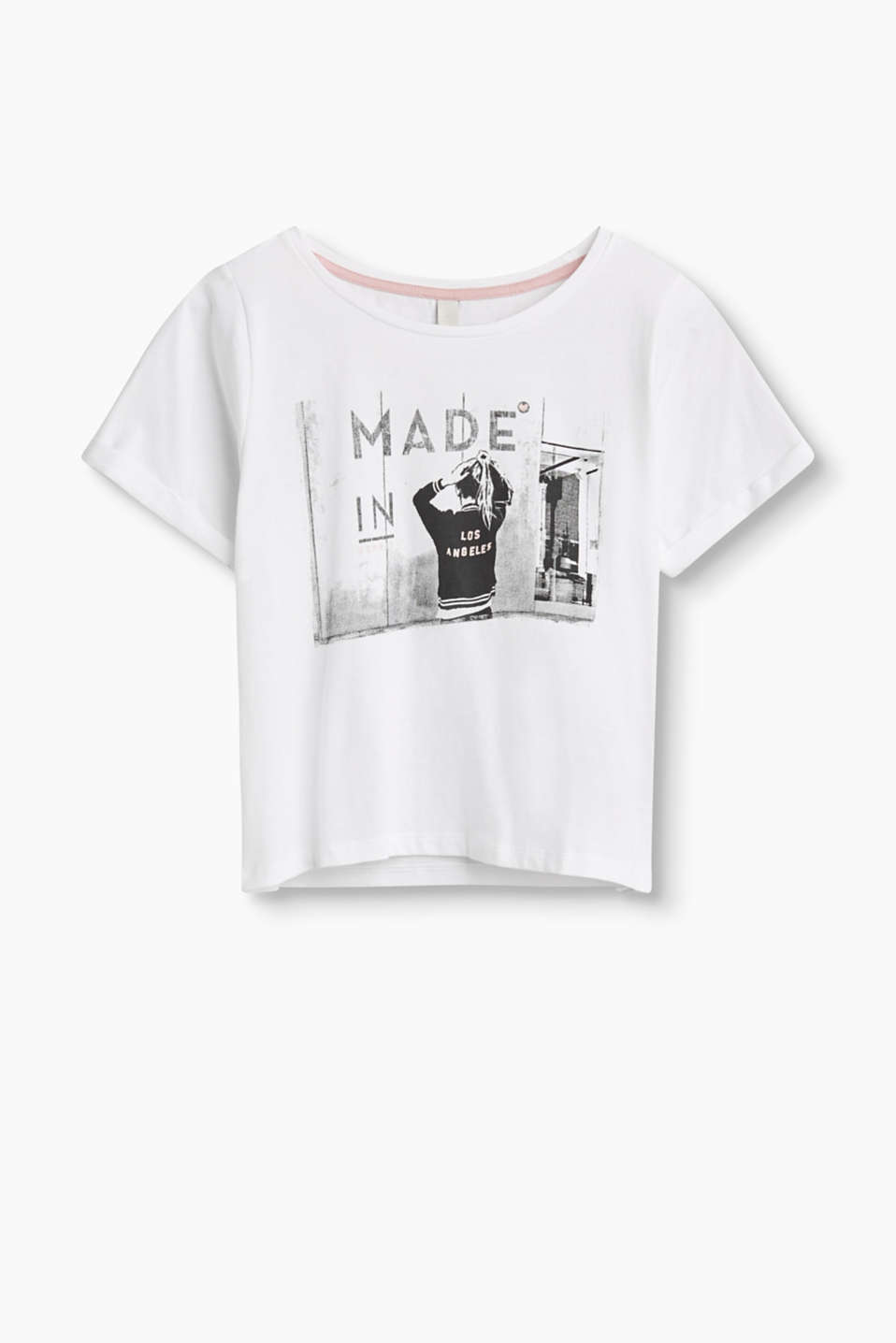 Made in Los Angeles - make a statement with the print on this jersey top made of pure cotton.