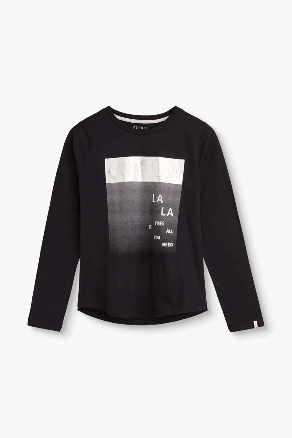 Esprit - Cotton long sleeve top with a metallic print