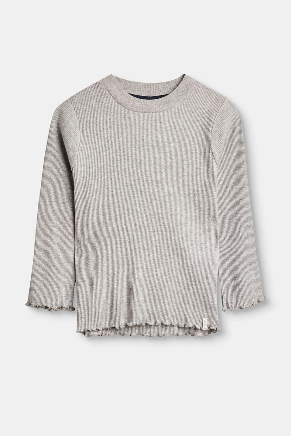 Esprit - Long sleeve top in soft, ribbed jersey