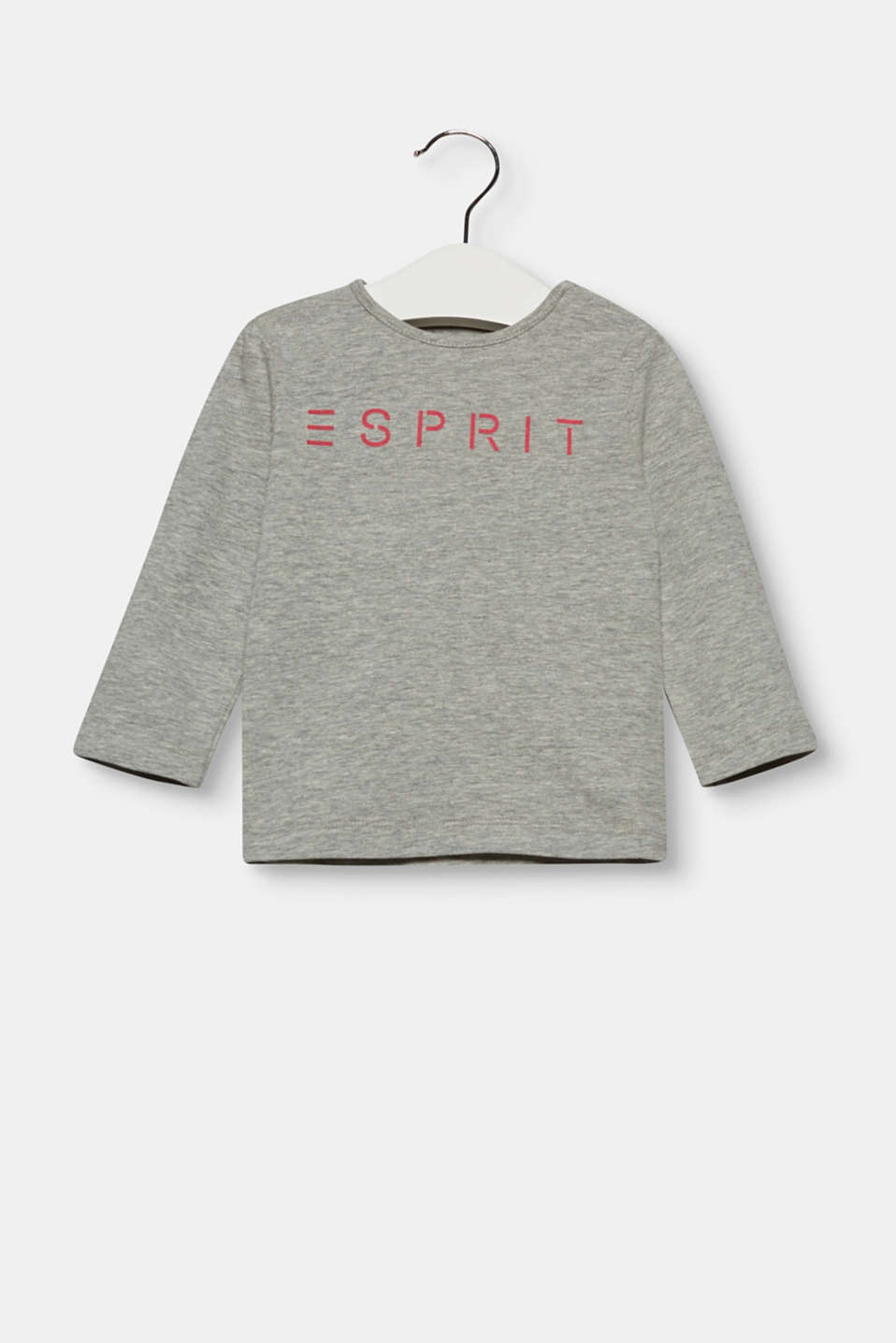Esprit - Basic long sleeve logo top with stretch