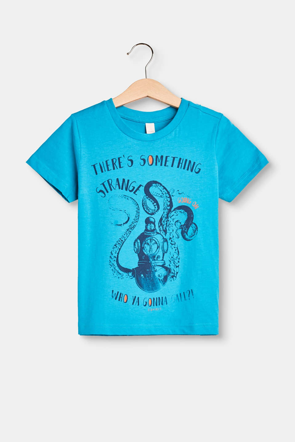 Esprit - T-shirt with an octopus print, 100% cotton