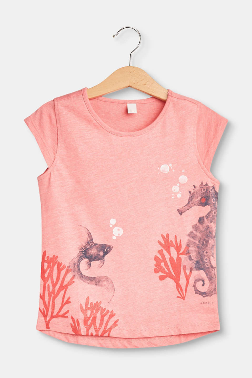 The seahorse print and glittery coral give this soft T-shirt a particularly pretty look.
