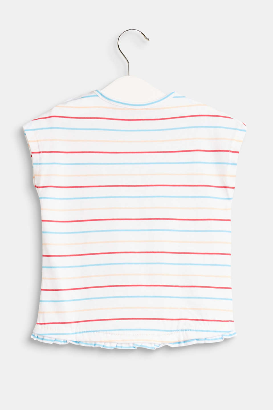 T-shirt with stripes and a hem frill, 100% cotton